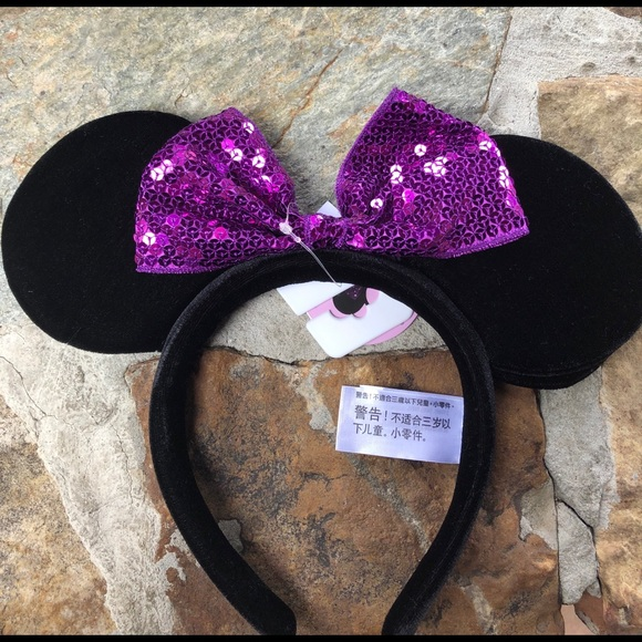 Disney youth Mickey Mouse Ears purple bow NWT
